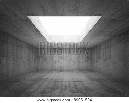 Empty Dark Concrete Room Interior With White Opening In Ceiling, 3D Illustration