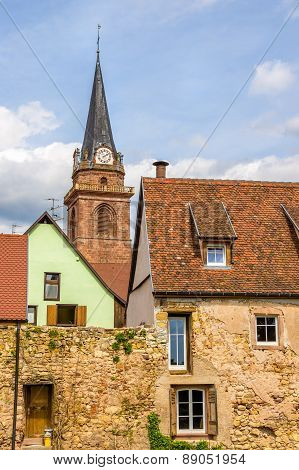 Bergheim Village With Defence Wall And And Belfry - Alsace, France