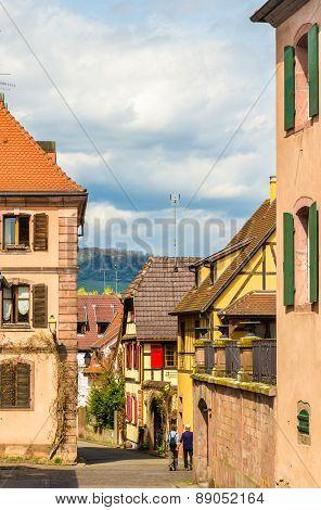 Street In Bergheim Village - Alsace, France