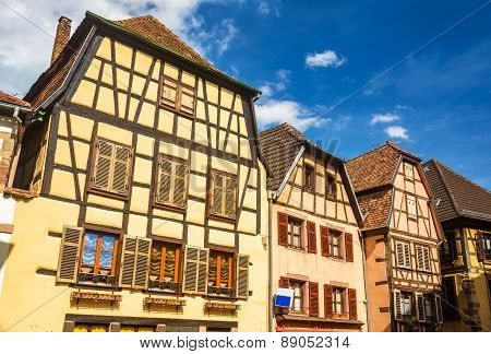 Traditional Timbered Houses In Ribeauville - Alsace, France