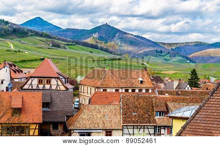 View Of The Vosges Mountains From Hunawihr - Alsace, France