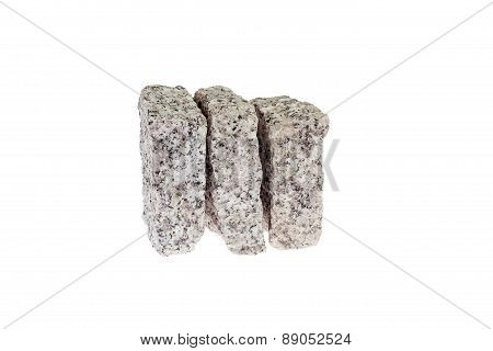 Granite blocks isolated on white background.
