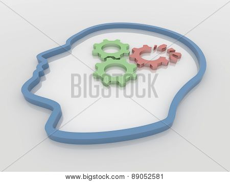 Human Head And Broken Gears 3D Background Concept