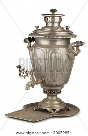 Old Russian Tea Samovar With Tray