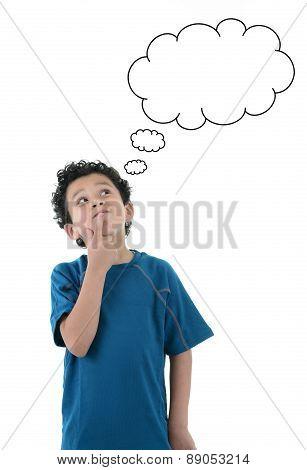 Portrait Of Funny Boy Thinking