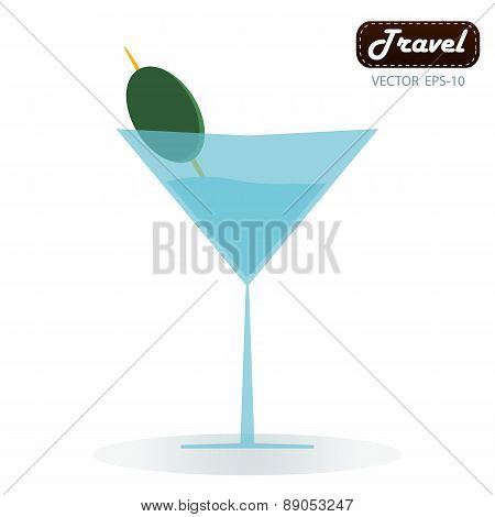 Cocktail Glass With Abstract Splashes And Olive. Design For Drinks Bar Menu Or Cocktail Party Invita