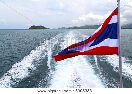 Asia Myanmar Kho Samui Bay Isle Waving Flag    In Thailand