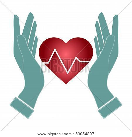 Hand Hold Heart Of Heartbeat Electrocardiograph Icon Vector