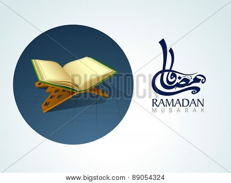 Open islamic book of Quran Shareef with arabic calligraphy text of Ramadan Kareem for muslim community festival celebration.