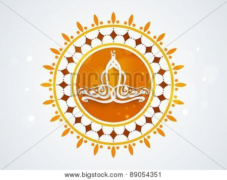 Sticker, tag or label with arabic calligraphy text of Ramadan Kareem on floral decorated background for islamic holy month of prayer celebration.