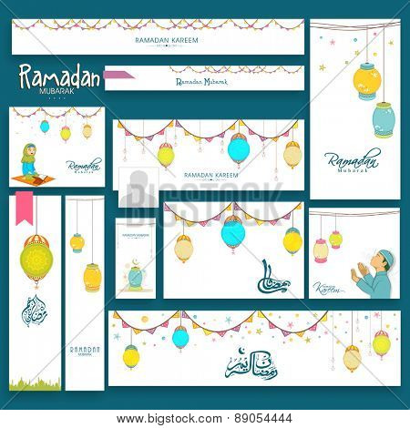 Beautiful website header or banner set decorated with different Islamic elements for holy month Ramadan Kareem celebration.
