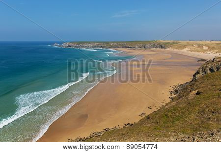 Holywell Bay coast North Cornwall England UK near Newquay and Crantock blue sea and sky