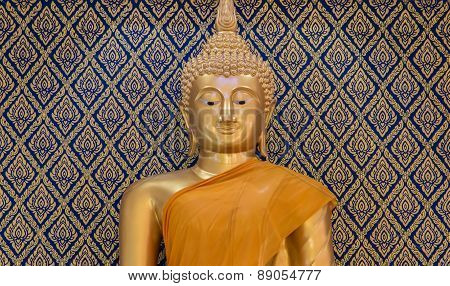 Buddha Gold Statue On Golden And Blue Background Patterns Thailand