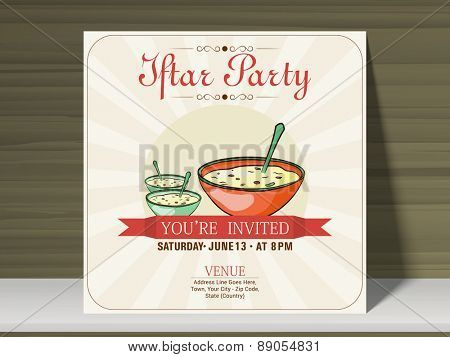 Ramadan Kareem Iftar party celebration beautiful invitation card with mosque, date, time and place details.