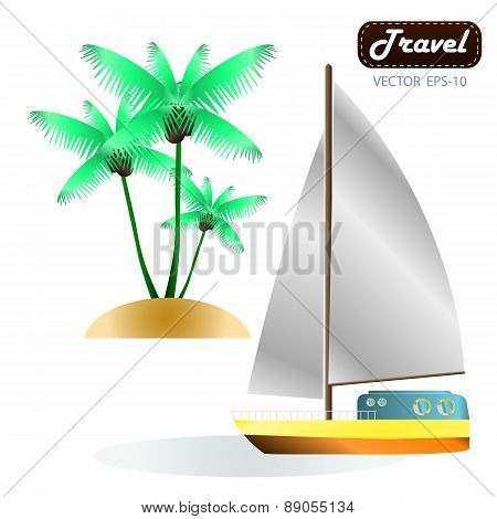 Exotic Tropical Landscape With Moon Night Sky, Palm Trees, Flowers And Sea With Sailboat. Vector
