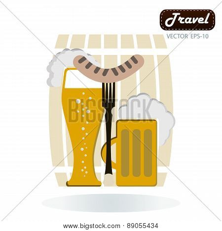 Grilled Sausage On A Fork, Mug Of Beer With Foam Head In His Hand On A Background Of Beer Barrels