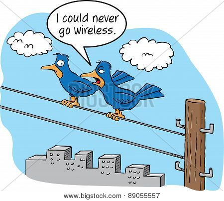 Cartoon birds sitting on a wire.