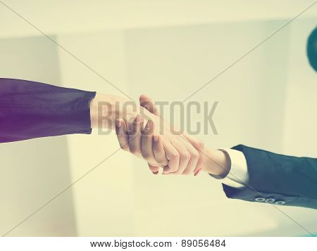 Handshaking In Office Low Angle