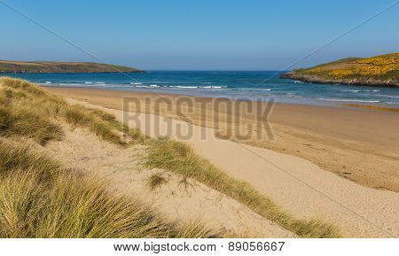 Sandy surfing beach Crantock North Cornwall England UK near Newquay