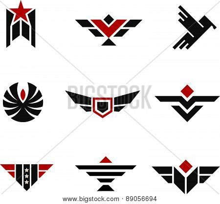 Army and military badges and strength symbols