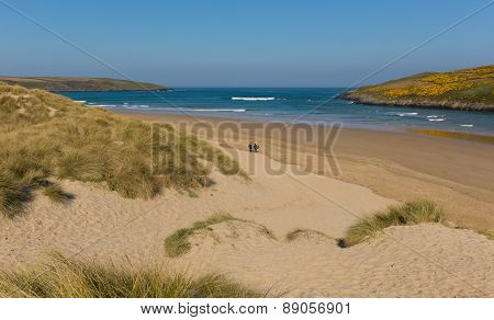 Crantock surfing beach North Cornwall England UK near Newquay and on the South West Coast Path