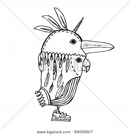 Abstract Parrot With Two Heads, Horn And Sneakers