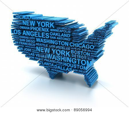 Map of USA formed by names of major cities