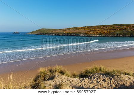 Crantock beach North Cornwall England UK near Newquay and on the South West Coast Path in sp