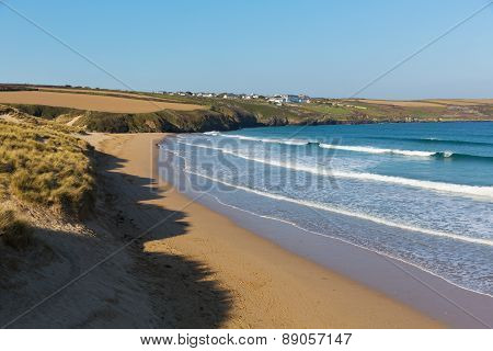 Crantock beach view to West Pentire and Bowgie Inn North Cornwall England UK near Newquay in spring