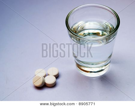A most medicine pill with water glass