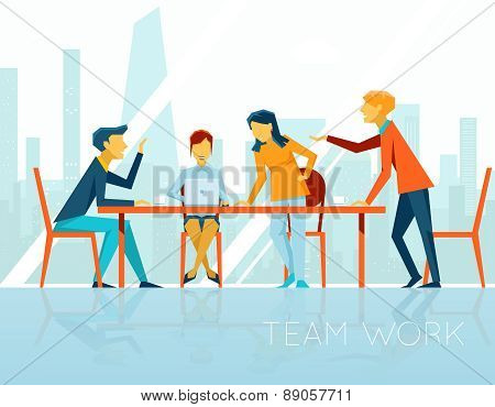 Business meeting. People talking and working in office