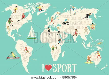 Cartoon map with sportsmen