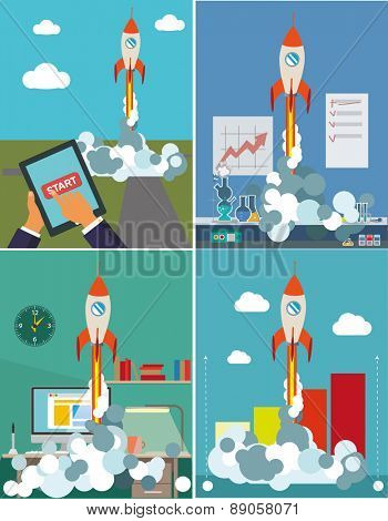 Start Up. Flat design modern vector illustration concept of new business project Set of images.