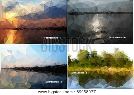 Geometric Polygonal Landscape Vector Illustration set of images