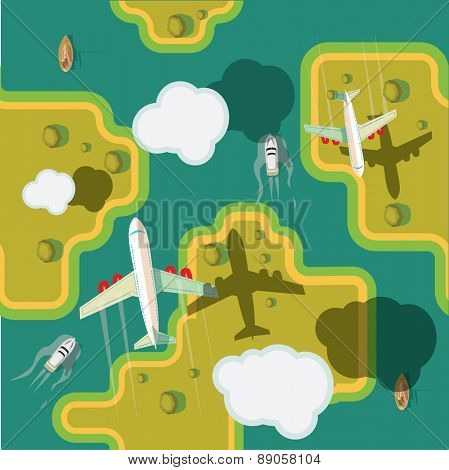 Plain fly over ground. Vector illustration. Seamless background.