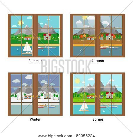 Vector window in different season