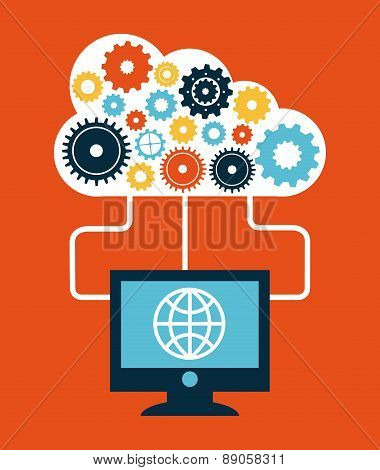 cloud computing over red  background vector illustration
