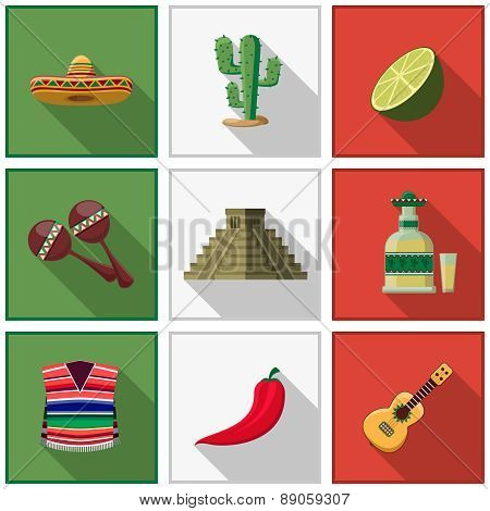 Mexico icons set, mexican symbols