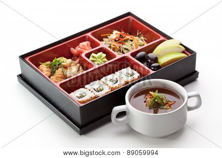 Japanese Cuisine - Sushi Roll with Appetizers, Dessert and Soup