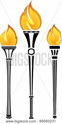 Set Of Vector Torches