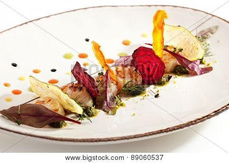 Sea Scallop with Fried Vegetables Chips