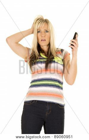 Woman In Colorful Shirt Frustrated On Phone