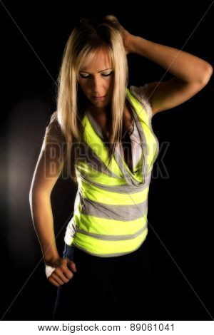 Woman In Green And Gry Shirt Light From Behind