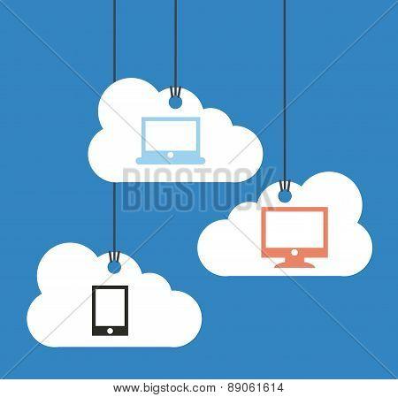 cloud computing over blue    background vector illustration