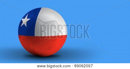 Chilean soccer ball on blue background