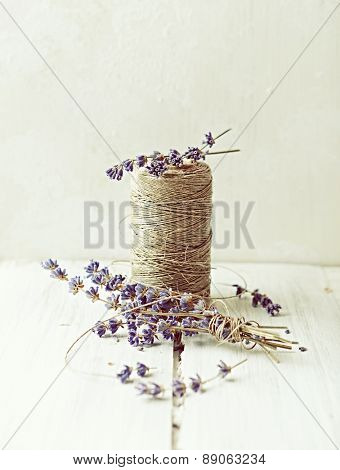 Kitchen twine and lavender flowers