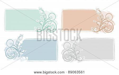 Set Of 4 Grunge Decorative Frames With Flowers For Visit Card Or Other Design.