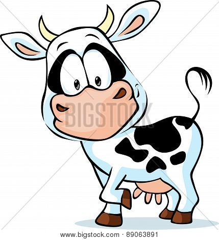 Black And White Young Cow - Vector Illustration