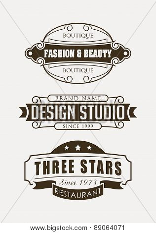 Set Of Retro Vector Design Elements, Logos, Signs Or Labels For Restaurant, Boutique And Design Stud