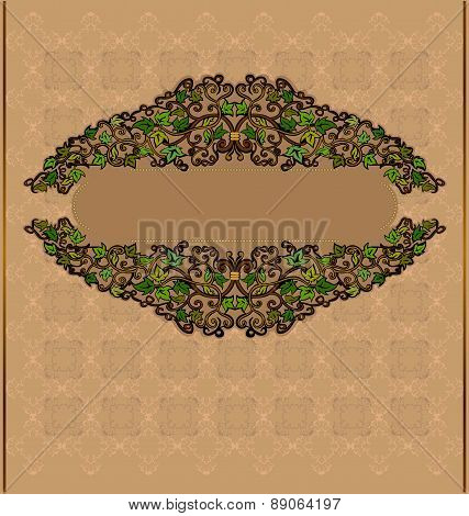 Leave Luxury Old Background or Banner with floral pattern